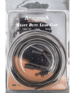 Anaconda Deluxe Heavy Duty Lead Clip Set Army Green | 3 SETS