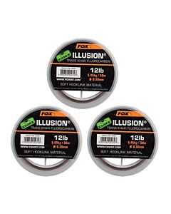 3 HALEN 1 BETALEN | Fox Edges Illusion Soft Hooklink Trans Khaki 50mtr | 16lb / 0.35mm