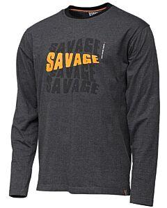 Savage Gear Simply Savage Logo Tee Long Sleeve Dark Grey Melange